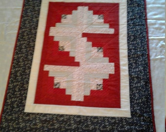 Black, Red and White baby Quilt