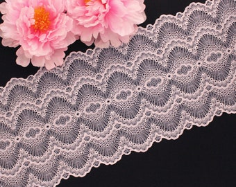 """1 YD Heavenly Pink 9.25"""" Scallop Stretch Lace for Bramaking Lingerie Underwear Sewing DIY"""