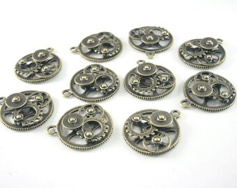 10 pcs.Zinc Antique Brass Wheel Gear 3D Gear Charms Pendants 30x35 mm. Gear Br 3035 80 CHM RC
