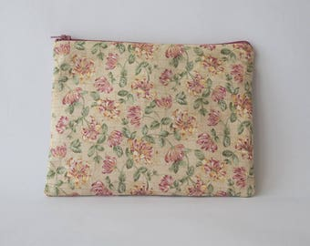 Makeup bag or pouch bag in floral fabric rose