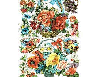 Vintage EAS Germany Die Cut Paper Scraps Of Flower Baskets  EAS 3125