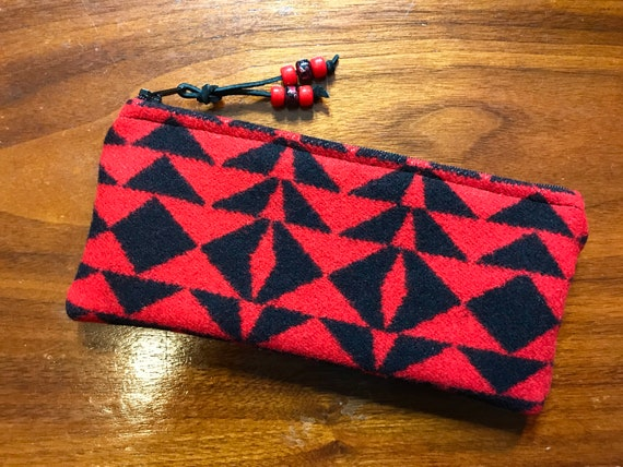 Wool Sunglasses Case / Glasses Case / Tampon Case / Zippered Pouch Red Harding