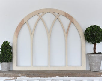 Vintage Inspired Original Arch Window Wood Frame Gothic church screen- OA6-2723