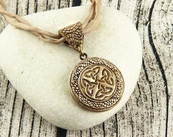 Celtic Knot - Celtic Cross - Double Sided Pendant - Bronze, Earthtone, Silk