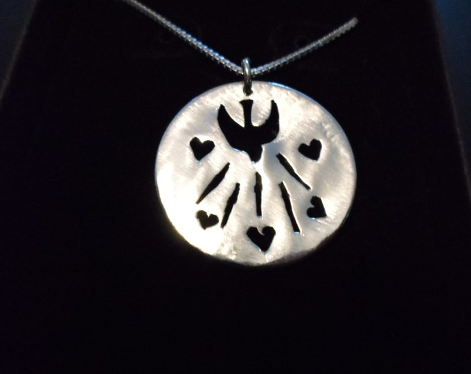 Holy Spirit Quarter size w/hearts w/ sterling silver chain
