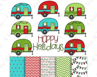 Happy Holidays Camper Hand Drawn Digital Clipart & Paper - Set of 14 - Christmas Campers, Digital Paper - Instant Download - Item #9171