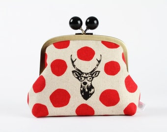 Metal frame clutch bag - Samber deer on red dots - Color bobble purse / Echino Japanese fabric / Red dots / Black deer with glasses gray