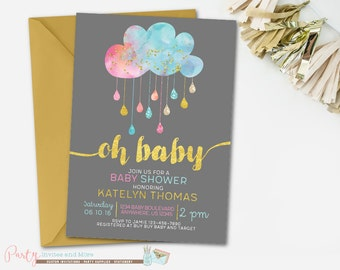 Gender Neutral Baby Shower Invitation, Cloud Baby Shower Invitation, Pink and Blue Baby Shower Invitation, Gold Baby Shower Invitation