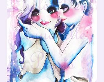 Cute blue Love (Fliederfarbener rand)