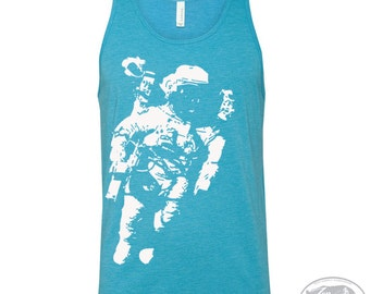 Unisex SPACE Tri Blend Tank Top -hand screen printed xs s m l xl xxl (+ Colors) workout