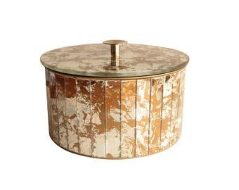 Marbled Golden Swirl Mirrored Box - Round Disco Ball Keepsake Box with Lid
