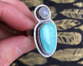 Moonstone and Turquoise + Silver Ring - Size 7