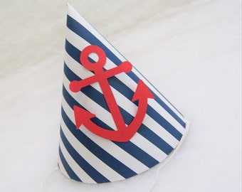 NEW Navy & White Stripe Anchor Party Hat - nautical birthday party, pool party, anchors party