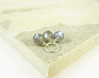 Tiny Trio - Sterling Silver Charms - Blue Flash Labradorite Jewelry - Light Grey Labradorite Stone - Wire Wrapped Jewelry Handmade