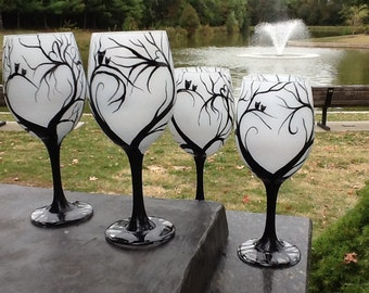 Whimsical Night Wineglass