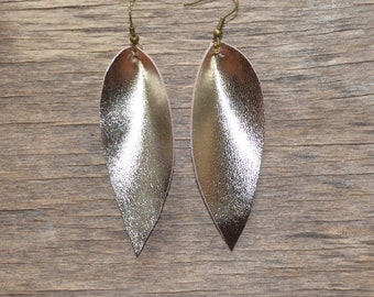 Gold Leather Earrings, Leather Earrings, Handmade earrings, sister earrings gift, Leather Leaf Earrings, gold leaf earring joanna gaines
