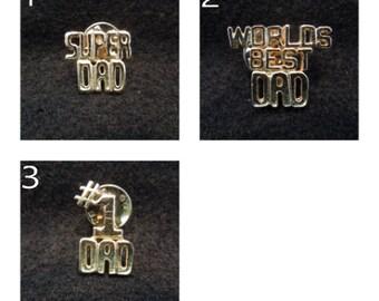 Vintage Dad Pins.  Super Dad, Worlds Best Dad, #1 Dad, Gold Toned.