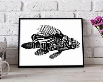 Affiche de poisson poisson lion, poissons-papillons wall art, affiche nautique, décoration murale poissons-papillons, impression papillon, poster cadeau