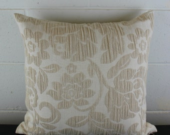 French Damask Linen Beach Chic Cream Embroidered Design Exclusive Cushion Pillow Cover by Peacock and Penny. 45cms x 45cms