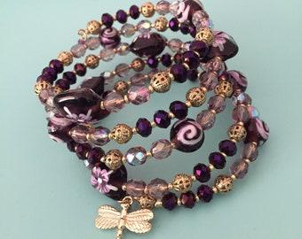 Beaded Bracelet / Charm Bracelet / Wrap Bracelet / Gold Bracelet / Purple Bracelet / Bracelet Set/ Black Bracelet/ Dragonfly Bracelet
