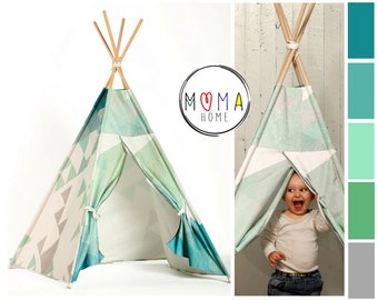 FREE SHIPPING TEEPEE Tent Pixel Triangles, Unique design