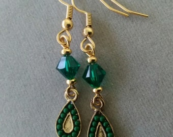 Swarovski Emerald Crystal and Gold Drop Earrings