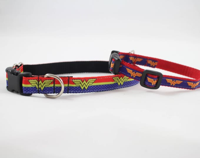 Wonder Woman inspired dog collar, DC comics, superhero, mini dog collar, small dog accessory,  nylon collar, pet gift, dog accessory