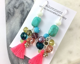 Tassel crystal cluster statement earrings in turquoise, white and pink with sterling silver 925 earring hooks