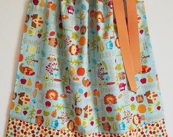 Fall Dress with Pumpkins Thanksgiving Dress Happy Harvest Pillowcase Dress with Scarecrow Autumn Dress with Turkey Dress with Fall Leaves