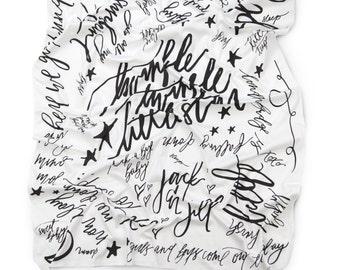 NURSERY RHYME BLANKET, calligraphy blanket organic knit baby swaddle blanket