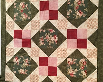 "AFTERNOON DELIGHT Quilt Top  50"" square--Moda Fabrics"