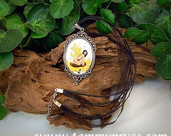 Sunflower Fairy Fantasy Art Pendant Cameo Necklace  40x30mm