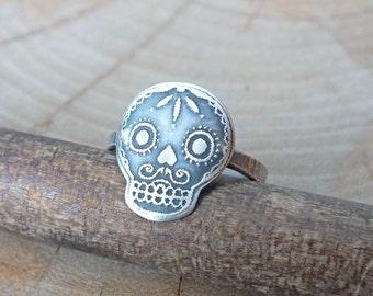 Sterling Silver Skull Ring, Etched Silver Skull Ring, Sugar Skull Ring, Day of The Dead Ring