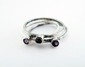 Amethyst Birthstone Sterling Silver Stacking Trinket Ring