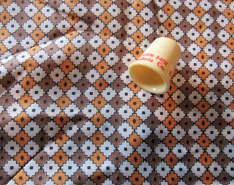 orange and tan geometric print vintage silk fabric