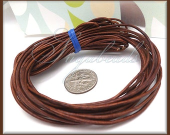 Soft Brown Leather Cord, Round Leather Cord, 16 Feet Leather, 1mm thick Leather Cord, Red Brown Cord