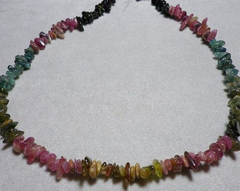 Natural Watermelon Tourmaline Chips Whole Strand 3mm to 9mm