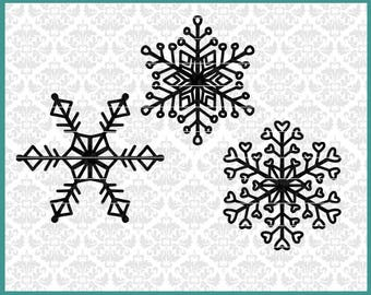 CLN0675 winter Christmas snowflakes 3 pack bundle hand drawn SVG DXF Ai EPs vector instant download commercial cut file cricut silhouette
