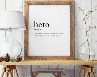 Hero Definition Print | Wall Art | Poster | Minimal Print | Hero Print | Modern Print | Hero Gift | Type Poster | INSTANT DOWNLOAD