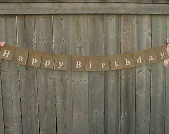 """Happy Birthday western style - Burlap banner - 2"""" letters - Name and age can be added"""
