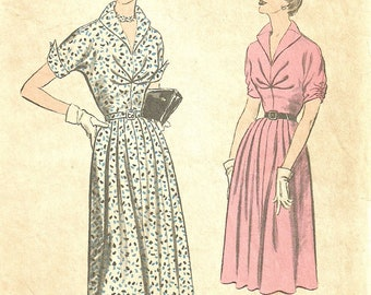 Advance 6369 Dress Pattern Shawl Collar Small Pleats at Bust Unpressed Pleated Skirt Bust 36 Size 16 1/2