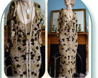 Gold beige flapper Downton Abbey embellish bead floral 1920'ssize UK 10 US 6