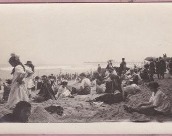 Antique Photo, Crowded Beach Scene, Vernacular, Shore, Bathing Suits, Children, Sand, Pier, Shore, Summer, Waves, Flag, Sunhat, Parasol
