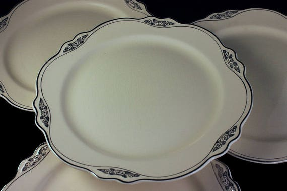 Luncheon Plates, Homer Laughlin, Silver Rose-Patrician, Platinum Florals and Trim, Virginia Rose Shape, Set of 4, Fine China