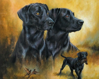 """Black labrador dog art dog gift dog lover gift limited edition art print dog print 16"""" x 16"""" mounted and ready to frame"""