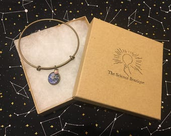 Earth and Moon Bangle Bracelet
