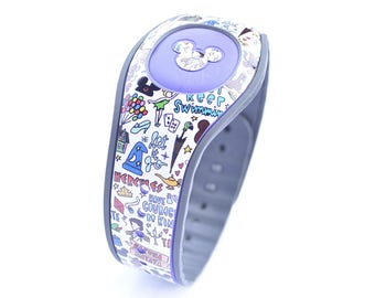 Magic Doodles Magic Band 1.0 or 2.0 Decal | Custom Waterproof MagicBand Skin  | RTS Ready To Ship | Glitter MagicBand Decals