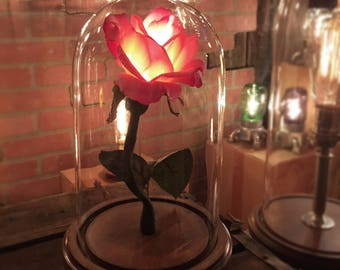 """The """"Belle"""" Beauty and the Beast Enchanted rose style flower lamp, Bell Jar,Cloche,glass dome, romantic nightlight, wedding centerpiece"""