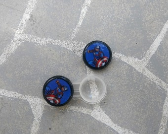 Captain America Avengers inspired contact case - marvel travel lens case - decorative cases - infinity war cosplay lens case