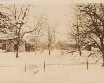 Original Vintage Photograph Snapshot House Trees in Snow 1920s